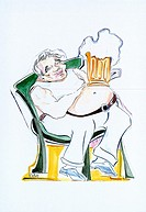 MAN WITH DRINK, DRAWING