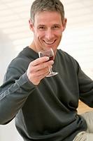 MAN DRINKING<BR>Model.