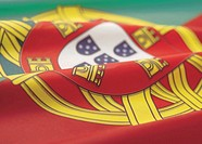 Close-up of the flag of Portugal