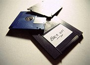 close-up of floppy disks