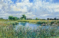 The Thames At Kelmscott, Oxfordshire. Afternoon August. Charles Neal (b.1951 British) Oil On Panel