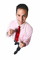 elevated view of a businessman with his fists raised