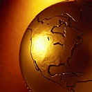 close-up of a continent embossed on a metallic globe