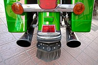 Detail of green motorcycle