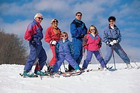 Grandparents and family skiing/Mt. Cranmore Ski Area, North Conway, NH, USA