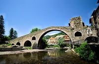 Pont Nou (12th century) and Ter River. Camprodon. Ripolles. Girona province. Catalonia. Spain