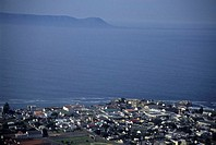 HERMANUS, REPUBLIC OF SOUTH AFRICA. Aerial view of Hermanus and Walker Bay.