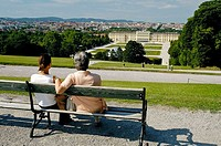 Tourists enjoying the Vienna skyline. Austria. 2006.