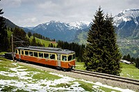 Train running between Murren and Grutschalp in the Berner Oberland region of Switzerland