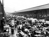 Scenes at Princes Parade and landing stage as motorcycles line up waiting to go on the Isle of Man steamer.