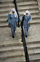 Girl in school uniform, Jerusalem, Israel