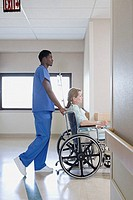 Nurse with patient in wheelchair