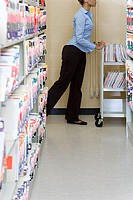Hospital administrator with files