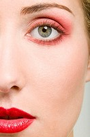 Woman wearing red make-up