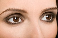 A womans brown eyes
