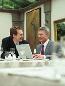 Two businessmen having meeting in restaurant using laptop, smiling