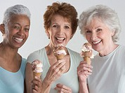 Senior Friends Eating Ice Cream