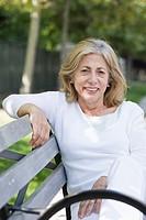 Senior Woman on Park Bench
