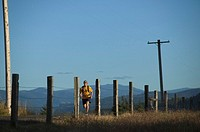 A man running on a road alongside a fence in White Salmon, WA.