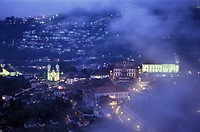 Brazil, Minas Gerais State, Ouro Preto, cityscape, view through clouds