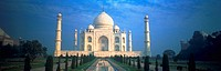 Panoramic view of the Taj Mahal in Agra, India.