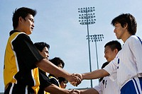 Soccer Players Shaking Hands Before the Game