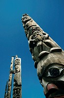 Canada, British Columbia, Gitanyow, totem poles, low angle view