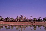 Early evening view of the Seim Reap Angkor Wat Temple in Cambodia.
