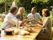 Four friends toasting red and white wine at garden table, smiling