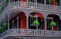 USA Louisiana New Orleans The French Quarter detail of wrought iron balcony