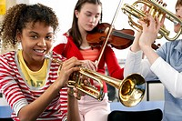 Playing the Trumpet in Music Class