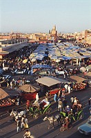 Morocco, Marrakesh, Djemma El Fna Square, elevated view