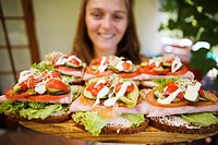 Eating Open Face Sandwiches Outside