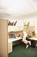 Excited Office Worker