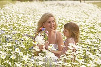 Mother and Daughter in Wildflower Meadow