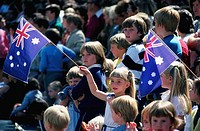 Children with Australian Flags at Cricket Match