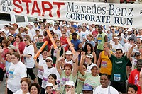 Corporate Fitness Run, paticipants, starting line. Biscayne Boulevard. Miami. Florida. USA