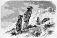 Ronororaka. Inside Volcano. South Eastern side. Drawing of A. De Bar from sketches of Mr. Alphonse Pinart. Easter Island, Chile.