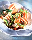 Clam, tagliatelli and courgette salad