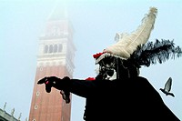 Low angle view of a person gesturing, St. Mark´s Cathedral, Venice, Veneto, Italy