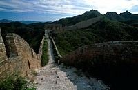 High angle view of a wall on a mountain, Great Wall of China, China