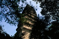Low angle view of a pagoda, China