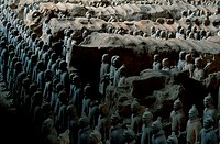 High angle view of statues of terracotta soldiers, Shaanxi Province, Xi´an, China