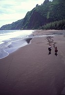 Horseback riding, Waipio Beach, Island of Hawaii, (editorial use only, no model release)