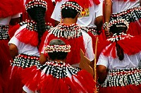 Micronesia, Northern Marianas, dancers in traditional costume, view from behind