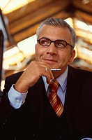 Office, businessman, smiles, lost in thought, portrait  Business, occupation, work, managers, managers, lawyer, entrepreneurs, employee, man, glasses,...