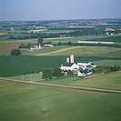 Aerial oblique view of several farms in southwest Ontario, Canada.