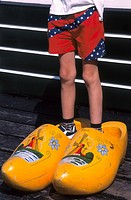 Holland, Marken, Boy in large Clogs