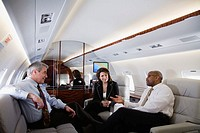 Business Executives Working on Private Jet
