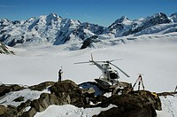 Terrain survey by GPS equipment at the head of the Tasman Glacier, Mt Cook National Park, New Zealand